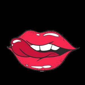 Witzig & Verrückt Maske großen Rote Lippen & Zunge