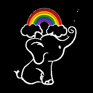 Baby Elefant mit Regenbogen