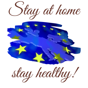 Europa Mundschutz, bleib zuhause Spruch Maske