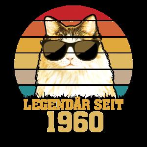 60. Geburtstag 1960 Lustig Katze Geschenk Shirt