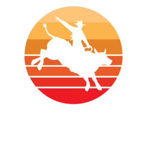 Bull Rider - Bull Riding - Vintage Orange Sonnenuntergang