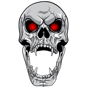 Totenkopf Schädel glühende Augen Vampir Design