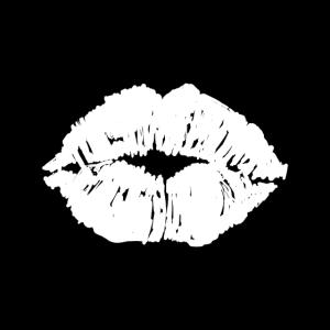 Kussmund Mund Lippen Gesichtsmaske Schwarz Weiss