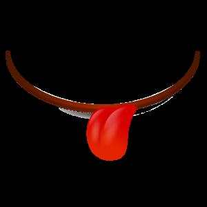 Mundlächeln Zunge