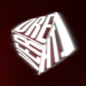 Verdrehter, leuchtender Würfel mit Text