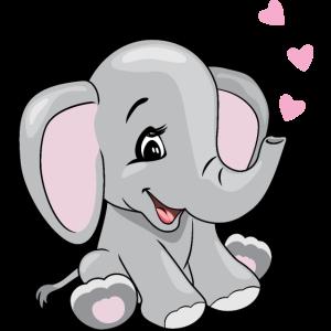 Cartoon lächelnder Elefant mit Herzen