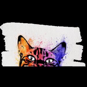 Katze Aquarell auf Leinwand