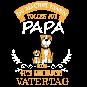Erster Vatertag - Hund Hundepapa mit Kind