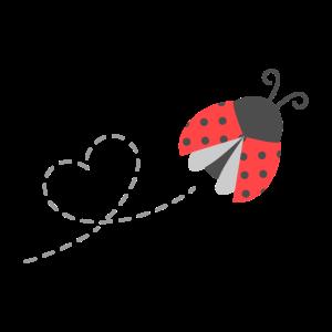 Netter fliegender Marienkäfer und Herzspur