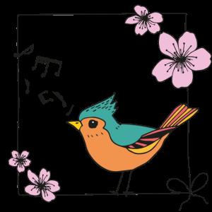 Singender Vogel - mit Schleife