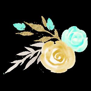 Mint und Gold Blumen