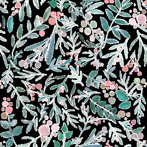 Blumenmuster, Aquarell von Blumen und Blättern