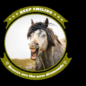 Lachendes Pferd mit Zahnspange