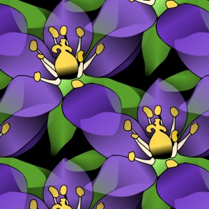 lila Blumen, violette Blüten, florales Muster