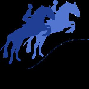 Zwei Pferde mit Reiter