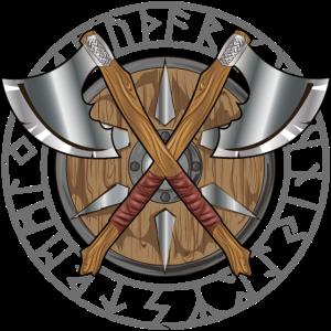 Valhalla Wikinger Runen mit Axt und Schild