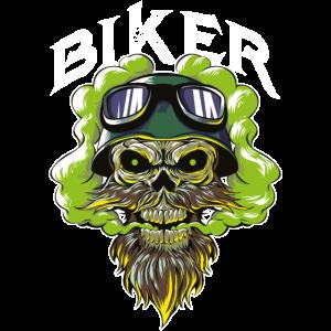 biker totenkopf motorrad