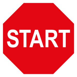 START / Start-up / Stopp-Schild