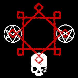 Magische Symbole mit Totenkopf