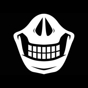 Schädelmasken-Karikatur
