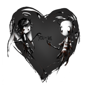angel and demon together in love BLACK EDITION