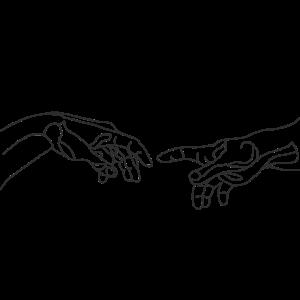 Michelangelo die Erschaffung Hand one line draw