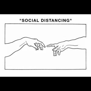 Social Distancing Creating Hands Line Art