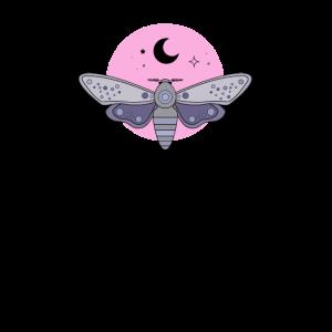 Aesthetic Pastel Goth Moth Moon