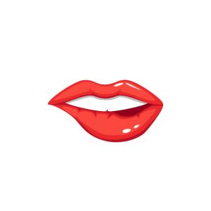 Maske: Mund mit Lippenstift