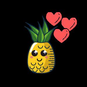 Ananas Niedlich Kawaii mit Herzen