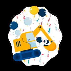 Bagger Geburtstagsgeschenk für 2 Jähriges Kind