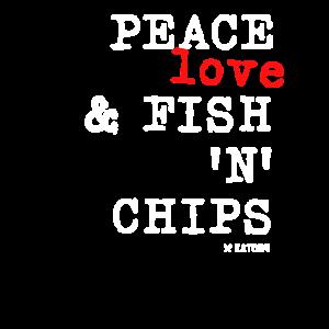 Peace Love und Fish 'N' Chips T-Shirt
