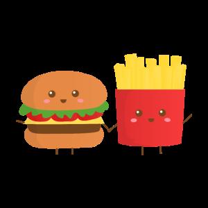 Süßer Burger und Pommes