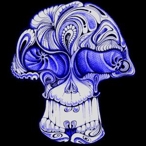 Totenkopf Pilz blau