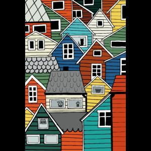 Skandinavien Souvenir In bunten Holzhäusern