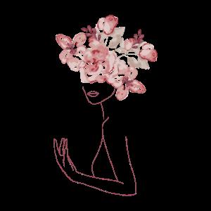 Minimal Line Art Frau mit Blumen Bouquet