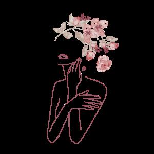 Minimal Line Art Frau mit Blumen Bouquet I