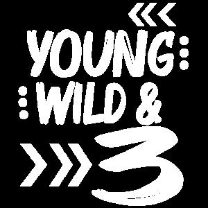 Wild Birthday Drei Kinder T-shirt zum 3 Geburtstag