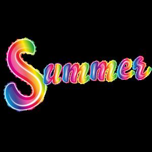 Sommer Schrift Luftballons in Regenbogen Farben