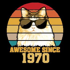 50. Geburtstag 1970 Lustig Katze Geschenk Shirt