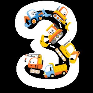 Kinder 3. Geburtstag 3 Jahre Bagger Jungs