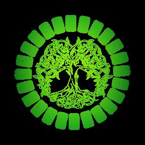 Weltenbaum im Runenkreis in Gruen