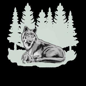 grauer Wolf Wolfsrudel Wolfsmutter Wald Shirt