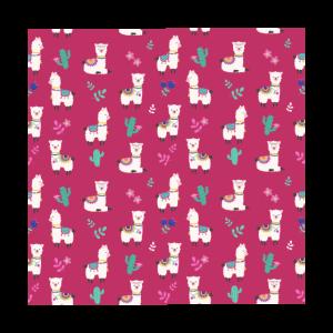 cute alpaca pattern pink background