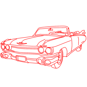 Cadillac, Auto, Motor, Retro, Outline, Oldtimer