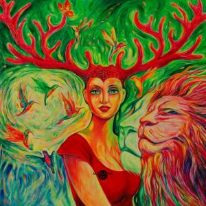 04 Magic Forest Frau Hirschgeweih Löwe Kolibris
