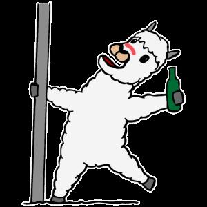 Betrunkenes Lama Alpaka Lustig Besoffen Alkohol