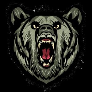 Bärenkopf heftiger Mund Grizzly 4k
