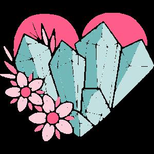 Grafik Herz Kristall Blume Design Geometrisch