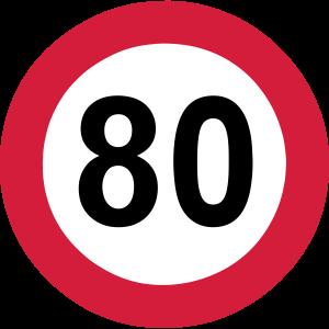 80 Jahre , Verkehrsschild 80 ...+